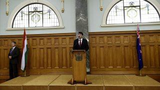 Wellington, 2016. november 13. Áder János köztársasági elnök beszédet mond a helyi magyar közösség tagjai körében az új-zélandi parlament épületében szervezett találkozón Wellingtonban 2016. november 13-án. MTI Fotó: Bruzák Noémi