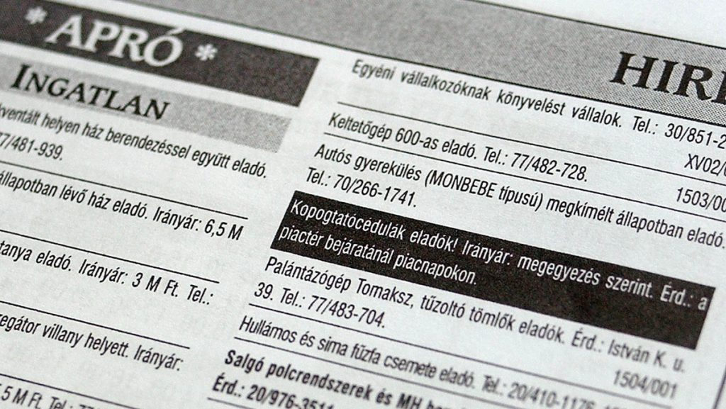 apróhirdetési újság MTI Fotó: Ujvári Sándor
