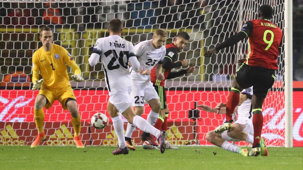 Belgium's Romelu Lukaku scores a goal during a qualification game for the soccer World Cup 2018 between Belgian national soccer team Red devils and Estonian soccer team, on Sunday 13 November 2016, in Brussels. It's the fourth qualification game and Belgium was leading the group H with three victories in the first games. BELGA PHOTO VIRGINIE LEFOUR