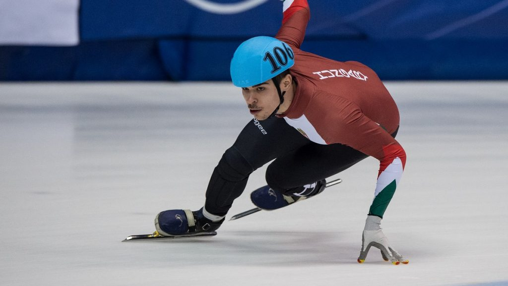 MONTREAL, QC - NOVEMBER 01: Csaba Burjan of Hungary skates on Day 2 of the ISU World Cup Short Track Speed Skating competition at Maurice-Richard Arena on November 1, 2015 in Montreal, Quebec, Canada.  (Photo by Minas Panagiotakis - ISU/ISU via Getty Images)