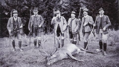 Emperor Franz Joseph I at hunting in Mitterweissenbach (Bad Ischl). 1912. Photograph by Josef Pollansch?tz / Ebensee. (Photo by Austrian Archives/Imagno/Getty Images)