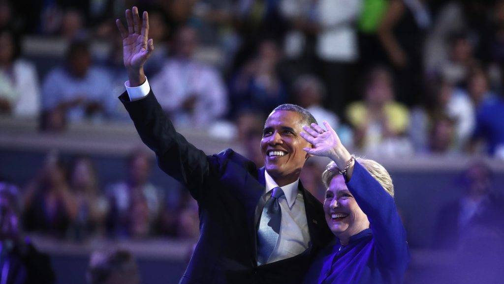 PHILADELPHIA, PA - JULY 27:  US President Barack Obama and Democratic presidential nominee Hillary Clinton acknowledge the crowd on the third day of the Democratic National Convention at the Wells Fargo Center, July 27, 2016 in Philadelphia, Pennsylvania. Democratic presidential candidate Hillary Clinton received the number of votes needed to secure the party's nomination. An estimated 50,000 people are expected in Philadelphia, including hundreds of protesters and members of the media. The four-day Democratic National Convention kicked off July 25.  (Photo by Jessica Kourkounis/Getty Images)