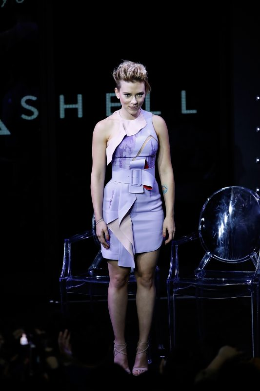 TOKYO, JAPAN - NOVEMBER 13:  Scarlett Johansson attends the global trailer launch for Paramount Pictures' 'Ghost in the Shell' at the Tabloid on November 13, 2016 in Tokyo, Japan.  (Photo by Tomohiro Ohsumi/Getty Images  for Paramount Pictures)