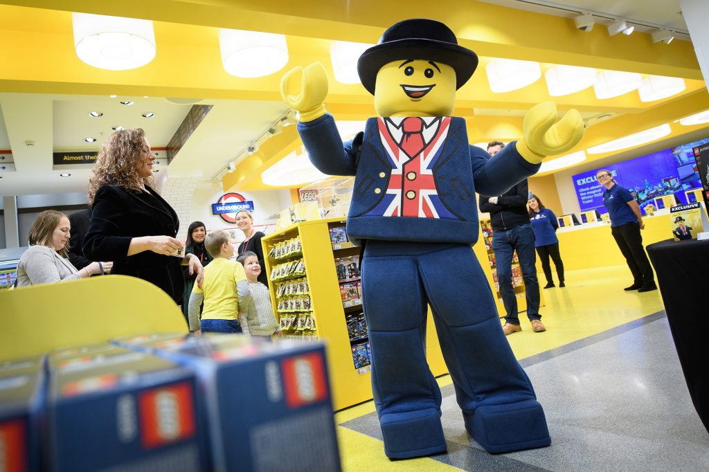 """LONDON, ENGLAND - NOVEMBER 16: """"Lester"""", the London Lego mascot, is seen during an opening party event at the new flagship Lego store on November 16, 2016 in London, England. The new landmark store is be the biggest Lego Brand Retail Store in the world, the 37th LEGO store in Europe and covers 914 sq metre total area, over two floors. (Photo by Leon Neal/Getty Images)"""