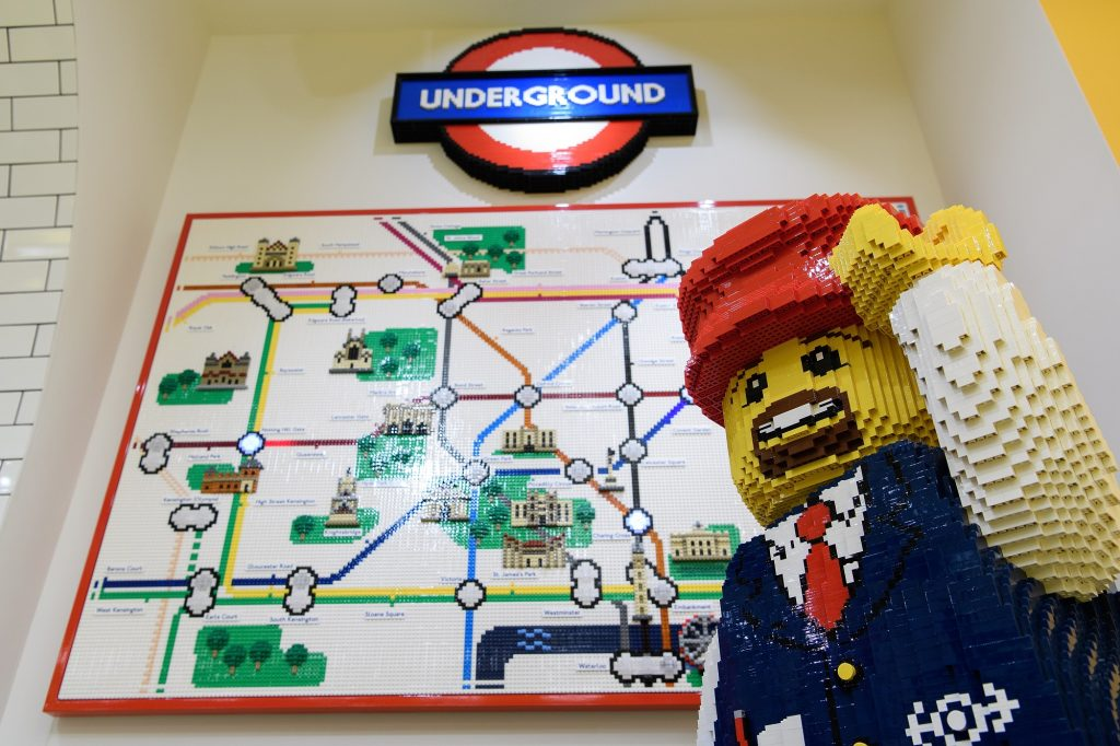 LONDON, ENGLAND - NOVEMBER 16: A map of the London Undgeround system is seen on the wall during an opening party event at the new flagship Lego store on November 16, 2016 in London, England. The new landmark store is be the biggest Lego Brand Retail Store in the world, the 37th LEGO store in Europe and covers 914 sq metre total area, over two floors. (Photo by Leon Neal/Getty Images)