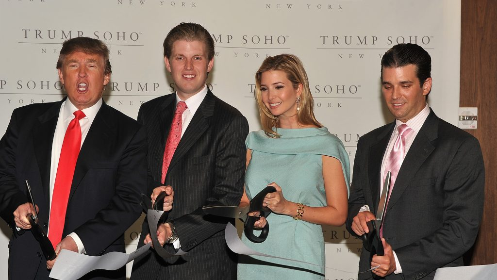 NEW YORK - APRIL 09:  Donald Trump, Donald Trump Jr., Ivanka Trump and Eric Trump attend the ribbon cutting ceremony at the Trump SoHo on April 9, 2010 in New York City.  (Photo by Theo Wargo/WireImage)