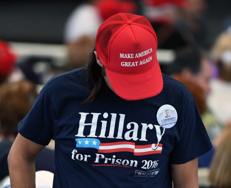 HENDERSON, NV - OCTOBER 05:  A supporter of Republican presidential nominee Donald Trump, attends a campaign rally at the Henderson Pavilion on October 5, 2016 in Henderson, Nevada. Trump is campaigning ahead of the second presidential debate coming up on October 9 with Democratic presidential nominee Hillary Clinton.  (Photo by Ethan Miller/Getty Images)