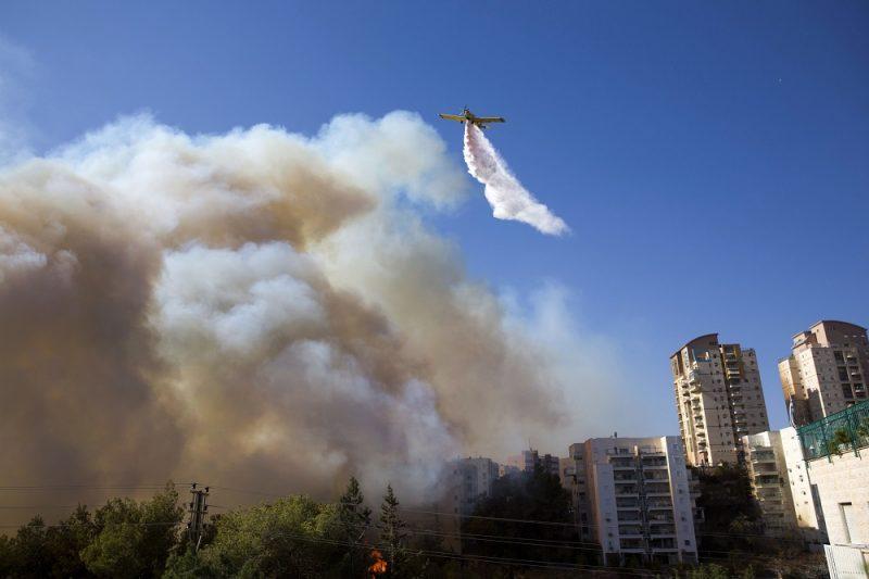 Haifa, 2016. november 24. Bozóttûz lángjait oltják repülõgéprõl Haifában 2016. november 24-én, amikor harmadik napja pusztítanak bozóttüzek Izraelben. Az izraeli rendõrség szerint nem kizárt a gyújtogatás, ennek gyanújával négy palesztint õrizetbe vettek. (MTI/AP/Ariel Schalit)