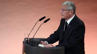 Berlin, 2016. szeptember 7. Joachim Gauck német elnök beszédet mond Walter Scheel egykori nyugatnémet államfõnek, a liberális német Szabad Demokrata Párt (FDP) politikusának gyászszertartásán Berlinben 2016. szeptember 7-én. Walter Scheel hosszú betegség után, 97 éves korában augusztus 24-én hunyt el.  (MTI/EPA/DPA pool/Markus Schreiber)