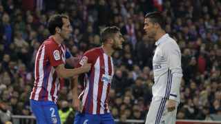 Koke Godin and Cristiano Ronaldo of Real Madrid in action during the La Liga match between Club Atletico de Madrid and Real Madrid CF at Vicente Calderon Stadium on November 19, 2016 in Madrid, Spain. (Photo by Oscar Gonzalez/NurPhoto)