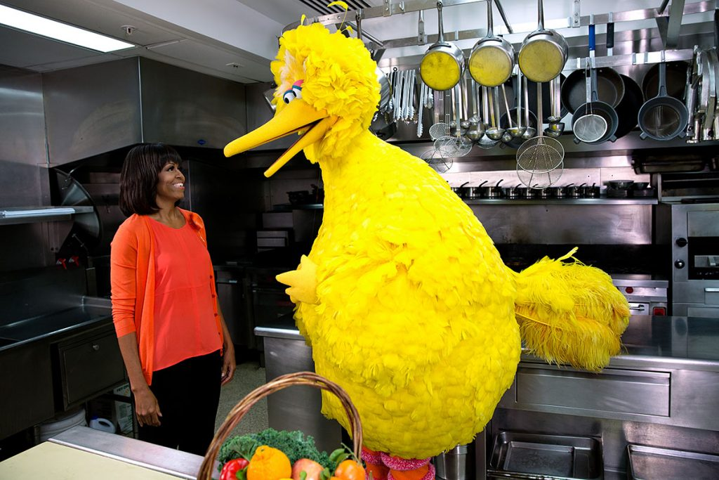 """First Lady Michelle Obama participates in a ŇLetŐs Move!Ó and """"Sesame Street"""" public service announcement taping with Big Bird in the White House Kitchen, Feb. 13, 2013. (Official White House Photo by Lawrence Jackson)This official White House photograph is being made available only for publication by news organizations and/or for personal use printing by the subject(s) of the photograph. The photograph may not be manipulated in any way and may not be used in commercial or political materials, advertisements, emails, products, promotions that in any way suggests approval or endorsement of the President, the First Family, or the White House.Ę"""