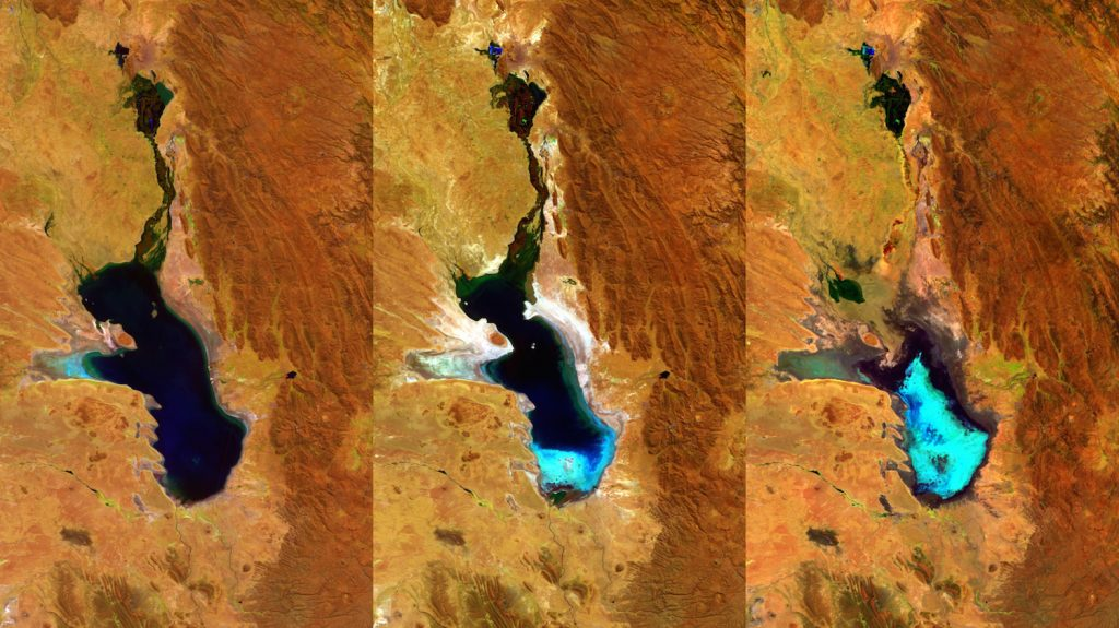 """Handout picture released by the European Space Agency of a photo composition taken by ESAís Proba-V minisatellite showing as the second largest lake in Bolivia gradually dried up. Lake Poopo was declared fully evaporated in 2015. The three 100-m resolution Proba-V images shown here were taken on 27 April 2014, 20 July 2015 and 22 January 2016 respectively. Occupying a depression in the Altiplano mountains, the saline Lake Poopo has in the past spanned an area of 3000 square kilometres. The last time Lake Poopo evaporated was in 1994, and it took several years before the water returned.  AFP PHOTO/EUROPEAN SPACE AGENCY   --- RESTRICTED TO EDITORIAL USE - MANDATORY CREDIT """"AFP PHOTO / EUROPEAN SPACE AGENCY"""" - NO MARKETING NO ADVERTISING CAMPAIGNS - DISTRIBUTED AS A SERVICE TO CLIENTS - GETTY OUT / AFP PHOTO / ESA/Belspoñproduced by VITO / --"""