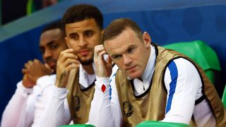 Wayne Rooney of England looks thoughtful on the substitutes bench during the UEFA Euro 2016 Group B match between England and Slovakia played at Geoffroy-Guichard, Saint-Etienne, France on June 20th 2016 - Photo Kieran McManus / BPI / DPPI