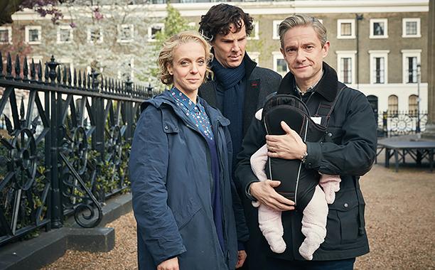 Sherlock, Season 4 premieres January 1, 2017 on MASTERPIECE onPBS.Picture shows: Mary Watson (AMANDA ABBINGTON), Sherlock Holmes (BENEDICT CUMBERBATCH) and John Watson (MARTIN FREEMAN)