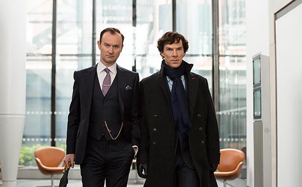 Sherlock, Season 4 premieres January 1, 2017 on MASTERPIECE onPBS.Picture shows: Mycroft Holmes (MARK GATISS) and Sherlock Holmes (BENEDICT CUMBERBATCH)