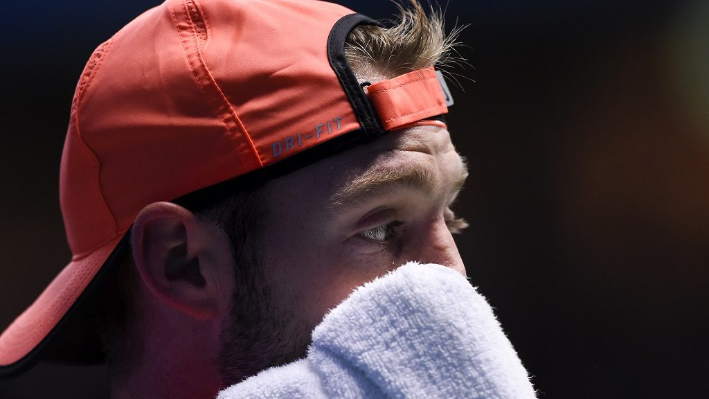 USA's Jack Sock reacts as he plays against Argentina's Juan Martin Del Potro during the final match of ATP Stockholm Open tennis tournament in Stockholm on October 23, 2016. / AFP PHOTO / JONATHAN NACKSTRAND