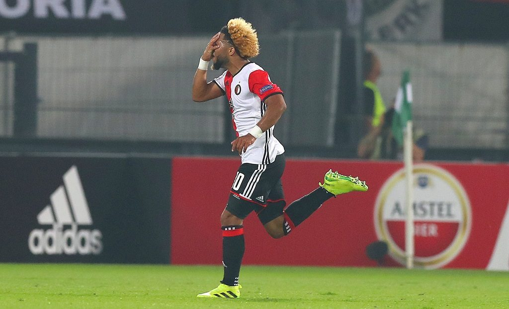 Tonny Vilhena of Feyenoord celebrates scoring a goal to make the score 1-0 during the UEFA Europa League Group A football match between Feyenoord and Manchester United on September 15, 2016 played at the Stadion Feijenoord in Rotterdam, Netherlands - Photo Kieran McManus / Backpage Images / DPPI
