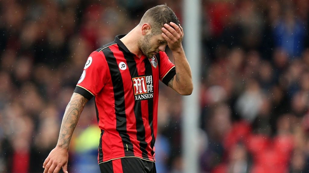 Jack Wilshere of Bournemouth wipes his brow as he leaves the field during the Premier League match between AFC Bournemouth and Hull City played at the Vitality Stadium, Bournemouth, England on October 15, 2016 - Photo James Marsh / Backpage Images / DPPI