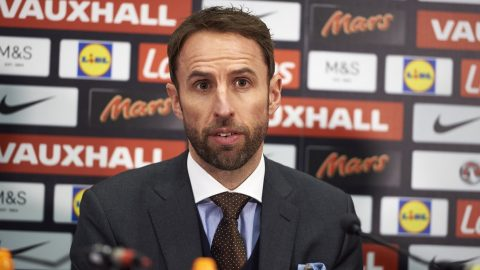 Newly appointed England football manager, Gareth Southgate takes part in his first press conference at Wembley Stadium in London on December 1, 2016. / AFP PHOTO / NIKLAS HALLE'N / NOT FOR MARKETING OR ADVERTISING USE / RESTRICTED TO EDITORIAL USE