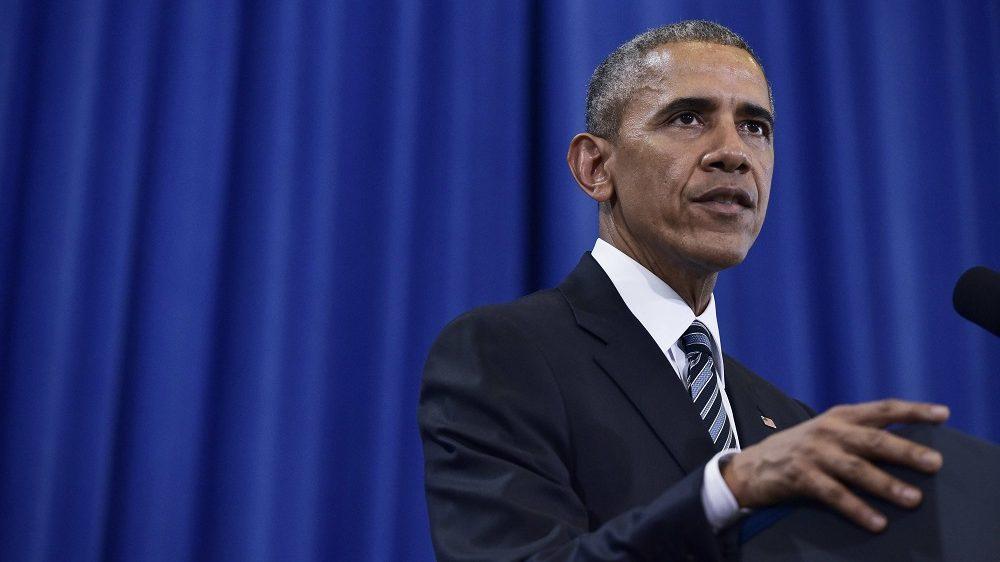 US President Barack Obama speaks on counterterrorism at MacDill Air Force Base in Tampa, Florida on December 6, 2016. / AFP PHOTO / Mandel Ngan