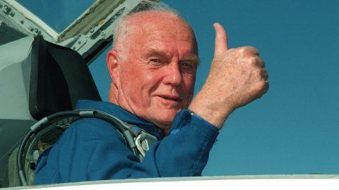 """(FILES) This NASA file photo taken on October 26, 1998 shows US astronaut and senator John Glenn arriving at the Kennedy Space Center for his 29 October scheduled launch aboard the US Space Shuttle Discovery. Glenn, who made history twice as the first American to orbit the Earth and the first senior citizen to venture into space, has died at the age of 95, the Ohio State University's John Glenn College of Public Affairs said on December 8, 2016. / AFP PHOTO / NASA / HO / RESTRICTED TO EDITORIAL USE - MANDATORY CREDIT """"AFP PHOTO / NASA"""" - NO MARKETING NO ADVERTISING CAMPAIGNS - DISTRIBUTED AS A SERVICE TO CLIENTS"""