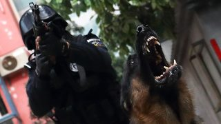 (161110) -- BEIJING, Nov. 10, 2016 (Xinhua) -- A SWAT team member of Beijing police attends a drill with a police dog on Nov. 5, 2016. The police dog division of Beijing Municipal Public Security Bureau was founded in 1952. Up to 2015, there have been more than 1,000 police dogs serving in criminal investigation, SWAT, public transportation, firefighting and some other departments of Beijing police. (Xinhua/Yin Gang)(mcg)