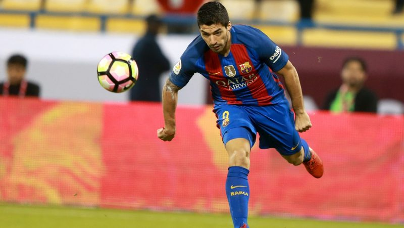 DOHA, QATAR - DECEMBER 13 : Luis Suarez (9) of Barcelona in action during a friendly soccer match between Al-Ahli Saudi and Barcelona at Al-Gharrafa Stadium in Doha, Qatar on December 13, 2016.  Mohamed Farag / Anadolu Agency