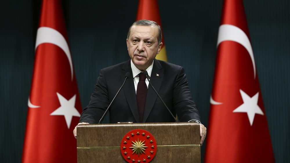 ANKARA, TURKEY - DECEMBER 27: Turkish President Recep Tayyip Erdogan and Guinean President, Alpha Conde (not seen) hold a press conference after their meeting at the Presidential Complex in Ankara, Turkey on December 27, 2016. Murat Kula / Anadolu Agency