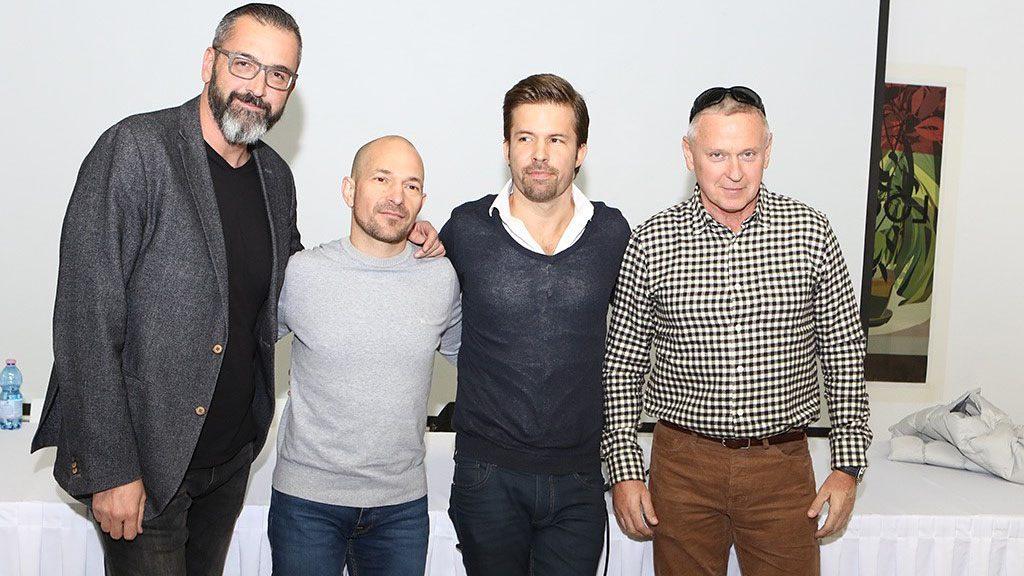 Rákóczi Ferenc, Vadon János, Sebestyén Balázs műsorvezetők és Bakai Mátyás, a Rádió 1 ügyvezetője