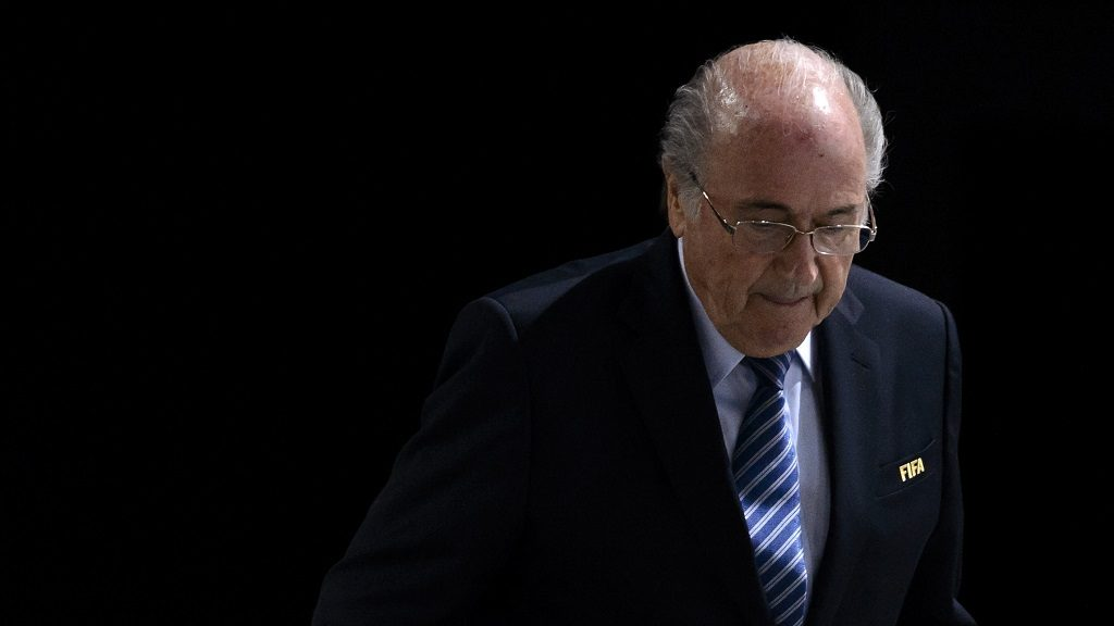 """(FILES) This file photo taken on May 29, 2015 during the 65th FIFA Congress in Zurich shows FIFA President Sepp Blatter leaving the stage.   The Court of Arbitration for Sport on December 5, 2016 upheld a six year ban against former FIFA president Sepp Blatter, the disgraced powerbroker's spokesman told AFP. Blatter, who was ousted over a suspicious payment to ex-UEFA leader Michel Platini, called the verdict """"incomprehensible"""" in a statement released even before the tribunal had officially given its decision.   / AFP PHOTO / FABRICE COFFRINI"""