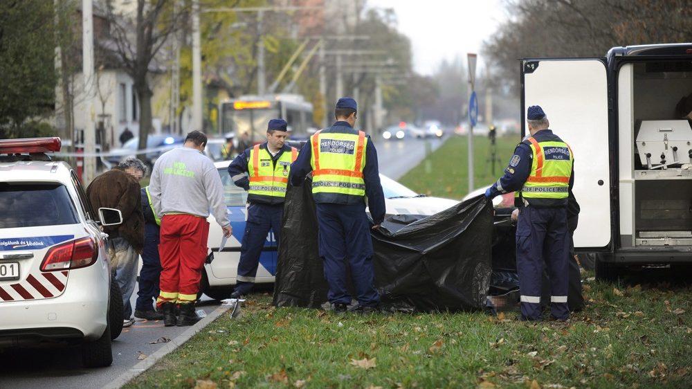 Budapest, 2016. november 7. Rendõrök helyszínelnek egy letakart holttest mellett 2016. november 7-én a XIV. Füredi utcában, ahol egy autó eddig tisztázatlan körülmények halálra gázolt egy idõs férfit. MTI Fotó: Mihádák Zoltán