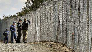 Röszke, 2016. október 13. Lengyel határõr távcsõvel figyel, mellette rendõr honfitársa (j2) és magyar rendõrök járõrözés közben a magyar-szerb határnál, Röszke térségében 2016. október 13-án. A V4 tagállamok határrendészeti együttmûködésének keretében 2016 szeptemberében 25 lengyel rendõr és 24 határõr érkezett Magyarországra, feladatuk a határátkelõhelyek közötti ideiglenes biztonsági határzárral biztosított zöld határ õrzése, gyalogos, gépkocsizó járõrszolgálat és figyelõ szolgálat ellátása. MTI Fotó: Máthé Zoltán