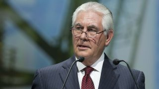 Rex Tillerson, chief executive officer of Exxon Mobil Corp., speaks during the World Gas Conference, in Paris, France, on Tuesday, June 2, 2015. Oil companies that have pumped trillions of barrels of crude from the ground are now saying the future is in their other main product: natural gas, a fuel theyre promoting as the logical successor to coal. Photographer: Christophe Morin/Bloomberg via Getty Images