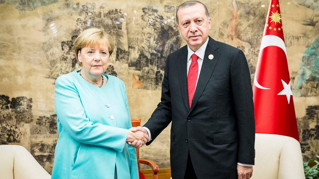 HANGZHOU, CHINA - SEPTEMBER 4:  In this handout photo provided by the German Government Press Office (BPA), German chancellor Angela Merkel meets the Turkish president Recep Tayyip Erdogan  shortly before the official start of the G20 meeting on September 4, 2016 in Hangzhou, China. World leaders are gathering for the 11th G20 Summit from September 4-5. (Photo by Jesco Denzel/Bundesregierung via Getty Images)