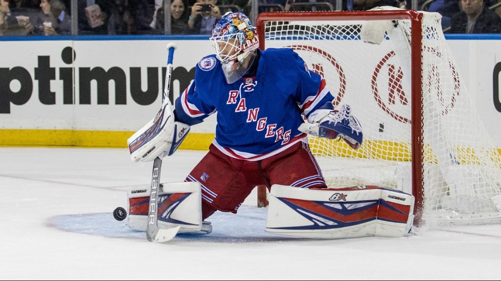 October 17, 2016: New York Rangers Goalie Antti Raanta (32) with a save during the first period of a NHL game between the San Jose Sharks and the New York Rangers at Madison Square Garden in New York, NY. (Photo by David Hahn/Icon Sportswire via Getty Images)