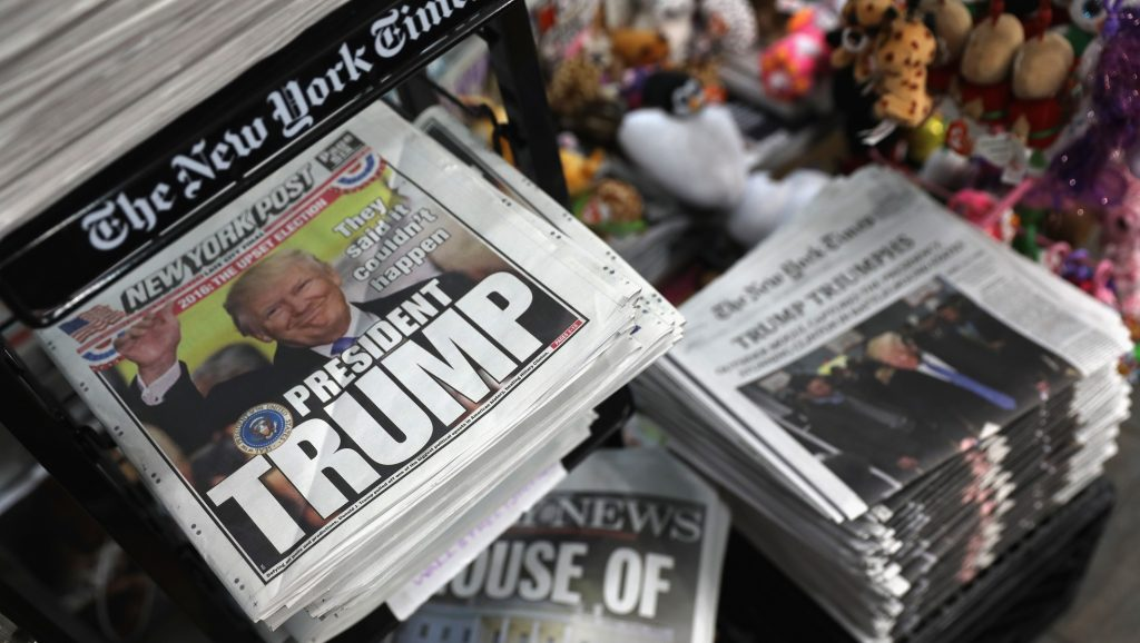 NEW YORK, NY - NOVEMBER 09:  Front pages from New York City newspapers feature President-elect Donald Trump on November 9, 2016 in New York City. Trump is due to meet with President Barrack Obama Thursday at the White House.  (Photo by John Moore/Getty Images)