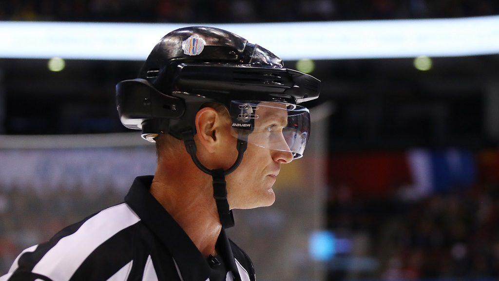 TORONTO, ON - SEPTEMBER 25: Referee Dan O'Rourke #9 wears a helmet camera during the first period in the semifinal game between Team Sweden and Team Europe at the semifinal game during the World Cup of Hockey tournament at Air Canada Centre on September 25, 2016 in Toronto, Canada.   Bruce Bennett/Getty Images/AFP