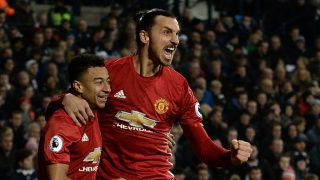 Manchester United's Swedish striker Zlatan Ibrahimovic (R) celebrates with Manchester United's English midfielder Jesse Lingard after scoring the opening goal of the English Premier League football match between West Bromwich Albion and Manchester United at The Hawthorns stadium in West Bromwich, central England, on December 17, 2016.  / AFP PHOTO / Oli SCARFF / RESTRICTED TO EDITORIAL USE. No use with unauthorized audio, video, data, fixture lists, club/league logos or 'live' services. Online in-match use limited to 75 images, no video emulation. No use in betting, games or single club/league/player publications.  /