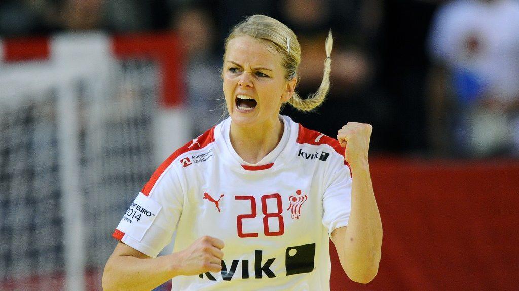 Denmark's Stine Jorgensen celebrates scoring during the Women's European Championships main round handball match Hungary vs Denmark at the Fonix Hall of Debrecen on December 15, 2014. AFP PHOTO / ATTILA KISBENEDEK / AFP PHOTO / ATTILA KISBENEDEK