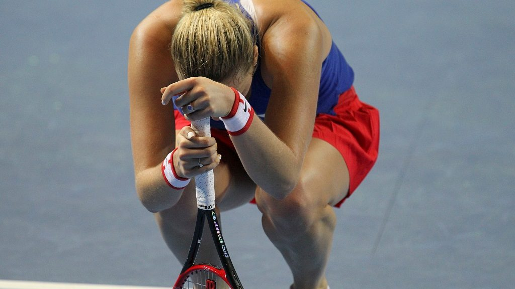 STRASBOURG, FRANCE - NOVEMBER 12 :  Petra Kvitova of Czech Republic gestures during the Fed Cup Tennis World Group final between France and Czech Republic at the Rhenus Sport stadium, in Strasbourg, France on November 12, 2016.  Elyxandro Cegarra / Anadolu Agency