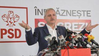 Bukarest, 2016. december 11.Liviu Dragnea, a román Szociáldemokrata Párt (PSD) elnöke nyilatkozik a sajtó képviselőinek az exit poll eredmények közzé tétele után Bukarestben 2016. december 11-én, a parlamenti választásokat követően. Az első becslések szerint az eddigi legnagyobb frakcióval rendelkező PSD fölényesen, a voksok csaknem 46 százalékát megszerezve nyerte meg a romániai parlamenti választásokat. (MTI/AP/Vadim Ghirda)