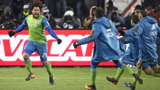 TORONTO, ONTARIO - DECEMBER 10: Roman Torres #29 of the Seattle Sounders celebrates his championship winning goal against the Toronto FC in the 2016 MLS Cup at BMO Field on December 10, 2016 in Toronto, Ontario, Canada. Seattle defeated Toronto in the 6th round of extra time penalty kicks.   Claus Andersen/Getty Images/AFP