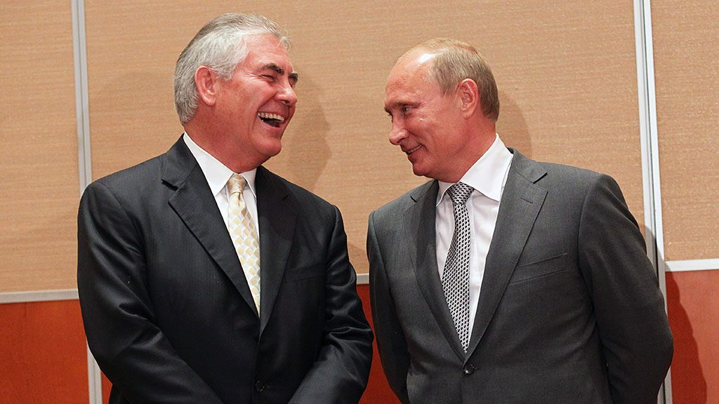SOCHI, RUSSIA - AUGUST 30:  Russian President, Vladimir Putin (R) and Rex Tillerson (L), Chairman and CEO of Exxon Mobil during a signing ceremony for an arctic oil exploration deal between Exxon Mobil and Rosneft on August, 30, 2011 in Sochi, Russia. US oil company Exxon Mobil have agreed an Arctic oil exploration deal with Russian state-owned oil company Rosneft, during a signing ceremony on Tuesday, attended by president Vladimir Putin.  (Photo by Sasha Mordovets/Getty Images)