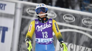 Maria Pietila-Holmner of Sweden reacts after competing in the Ladies' FIS Alpine Skiing World Cup slalom race in Levi Kittila, on November 12, 2016.   / AFP PHOTO / Lehtikuva / Martti Kainulainen / Finland OUT
