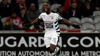 Rennes' French-Cameroonian forward Paul-Georges Ntep celebrates after scoring a goal  during the French L1 football match between Lille (LOSC) and Rennes (SRFC) at the Pierre-Mauroy Stadium in Villeneuve d'Ascq, near Lille, northern France, on December  21, 2016. / AFP PHOTO / DENIS CHARLET