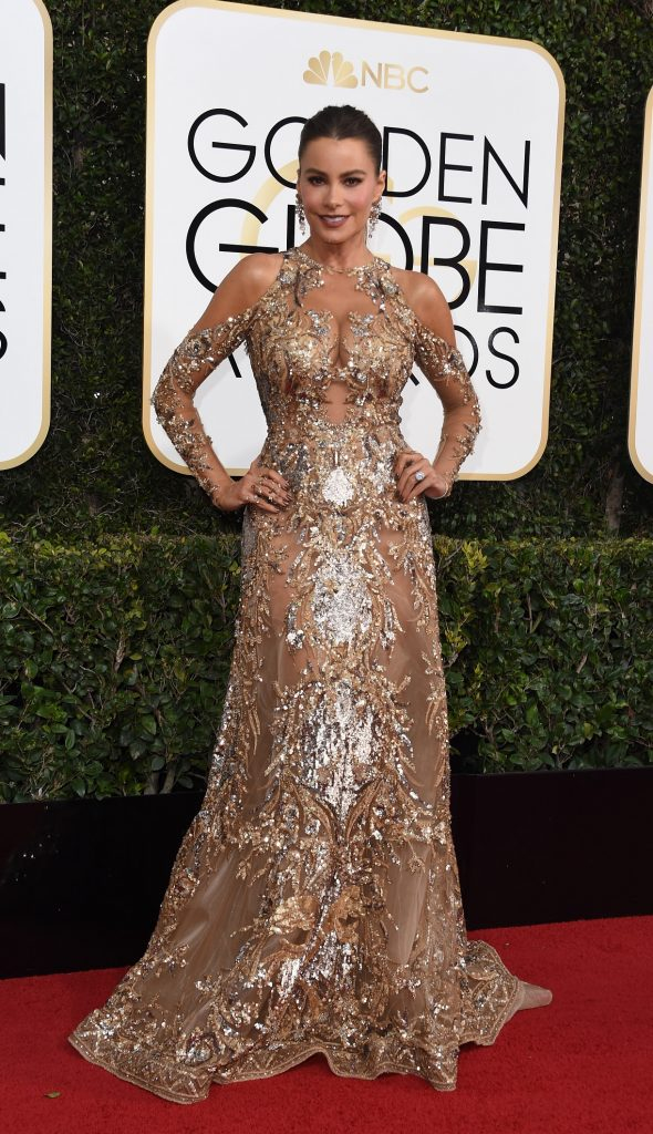 Actress Sofia Vergara arrives at the 74th annual Golden Globe Awards, January 8, 2017, at the Beverly Hilton Hotel in Beverly Hills, California.  / AFP PHOTO / VALERIE MACON