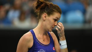 Poland's Agnieszka Radwanska reacts while playing against Croatia's Mirjana Lucic-Baroni during their women's singles second round match on day four of the Australian Open tennis tournament in Melbourne on January 19, 2017. / AFP PHOTO / SAEED KHAN / IMAGE RESTRICTED TO EDITORIAL USE - STRICTLY NO COMMERCIAL USE