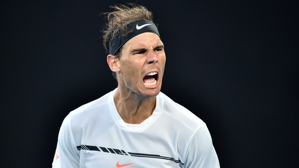 Spain's Rafael Nadal celebrates after victory against Germany's Alexander Zverev during their men's singles third round match on day six of the Australian Open tennis tournament in Melbourne on January 21, 2017. / AFP PHOTO / PETER PARKS / IMAGE RESTRICTED TO EDITORIAL USE - STRICTLY NO COMMERCIAL USE