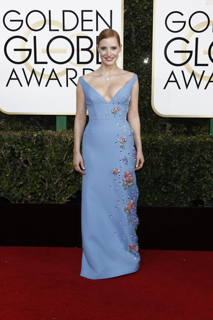 Jessica Chastain arrives at the 74th Annual Golden Globe Awards, Golden Globes, in Beverly Hills, Los Angeles, USA, on 08 January 2017. Photo: Hubert Boesl Photo: Hubert Boesl/