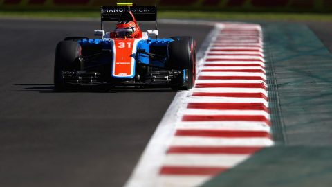 MEXICO CITY, MEXICO - OCTOBER 29: Esteban Ocon of France driving the (31) Manor Racing MRT-Mercedes MRT05 Mercedes PU106C Hybrid turbo on track during final practice for the Formula One Grand Prix of Mexico at Autodromo Hermanos Rodriguez on October 29, 2016 in Mexico City, Mexico.   Clive Mason/Getty Images/AFP